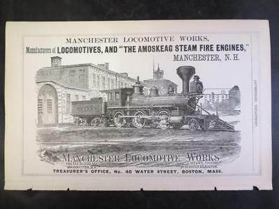 """c. 1870's Manchester NH Locomotive Works Illustrated Advertisement - 5.5 x 9"""""""