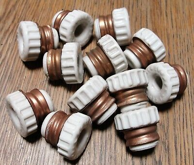 Lot of 12 Antique Porcelain & Brass Electrical Wire Insulator Parts Patent 1906