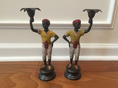 Vintage Black Americana plantation worker cast iron candlestick holder pair