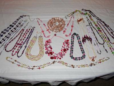 HUGE VTG COSTUME JEWELRY PINK & PURPLE SHADES GLASS BEAD NECKLACE WEAR LOT 19pc