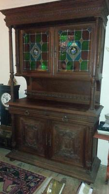 Beautiful English Antique Large Oak Stained Glass China Hutch