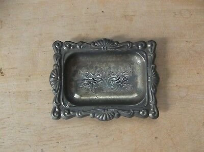 Small Vintage Silver-Plate or Metal Rectangular Trinket Coin Ring Dish
