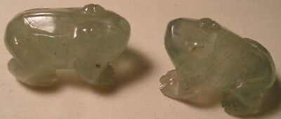 Pair Vintage Chinese Hand Carved Green Quartz or Jade Frog Figurines 1 1/2""