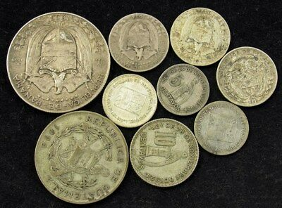 Lot of 9 Central/South America Silver Coins -1920s-1950s- Various Countries