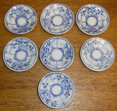 7 Antique Flow Blue Decorated w/ Gold Trim & Ring Butter Pats