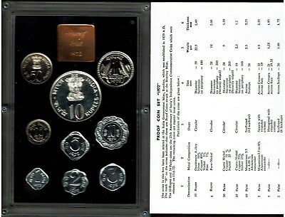 India Republic 9-Coin Proof Set 1972 Nice In Case Scarce With Coa