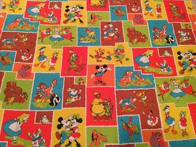 Rare Vtg Mickey Mouse Friends Twin Flat Sheet Fabric Walt Disney Productions