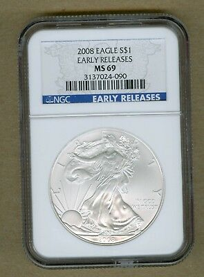 2008 U.S. Silver Eagle Early Releases 1oz. Silver Coin NGC MS 69