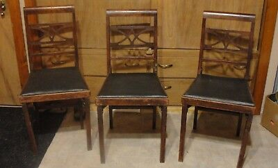 Vintage Set Mid Century Modernism Wood Folding Chairs Fold Down To Small Size
