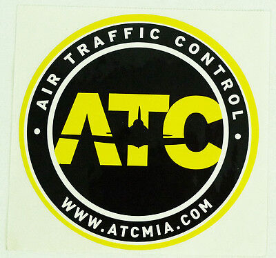 Air Traffic Control ATC Miami Yellow & Black Round Promotional Decal Sticker 4""