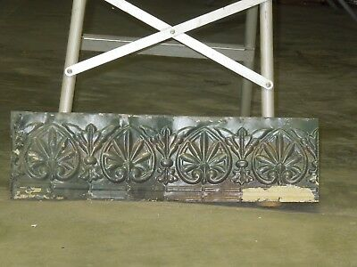 "Old Antique ( Metal ) tin ceiling tile / craft 24""x 6.5"" filler, backsplash ?"