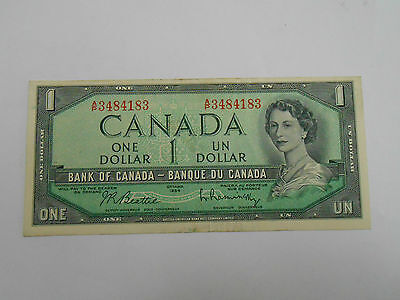 Coinhunters- 1954 Bank Of Canada $1 Note, Almost Uncirculated +, AU+