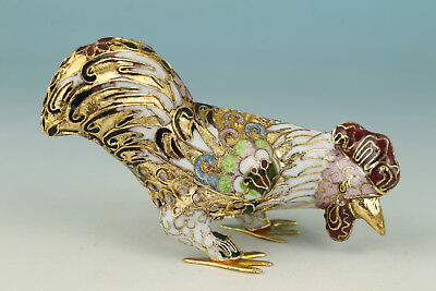 Chinese Cloisonne Handmade Carved Cock Statue Figure Art Decoration