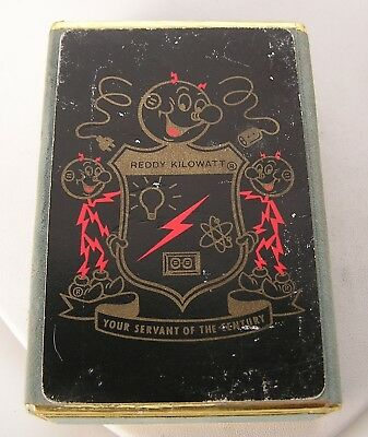 Vintage 1958 Reddy Kilowatt Playing Card Deck - All Face 49 Cards- in Box Case