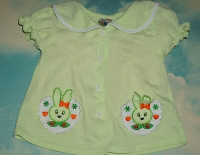Vintage Toddler Green Button Down w Easter Bunny Pockets Shirt Girl's Sz 2T
