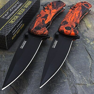 """2 x 8"""" TAC FORCE EDC RED CAMO SPRING ASSISTED TACTICAL POCKET KNIFE Open Assist"""