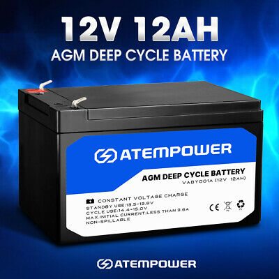 12AH AMP Hour Battery 12V AGM SLA Deep Cycle Dual Fridge Solar Power 12 VOLT