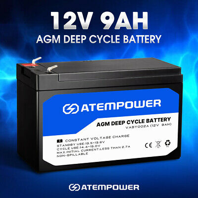 9AH AMP Hour Battery 12V AGM SLA Deep Cycle Dual Fridge Solar Power 12 VOLT
