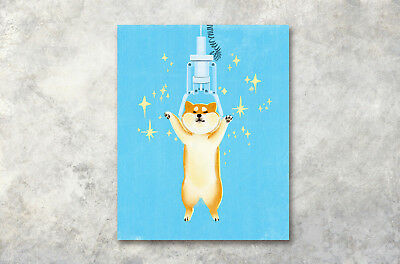 """16x20"""" Modern Art Poster Prints Wall Decor Canvas Painting Watercolor Cute Dog"""