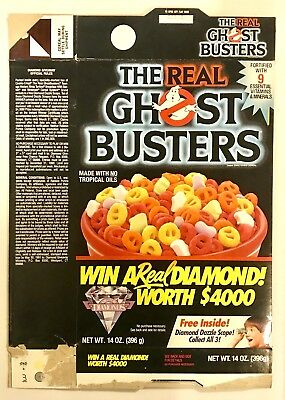 Vintage 1988 Ralston The Real Ghost Buster Cereal Box, Diamond Dazzler Toy Offer