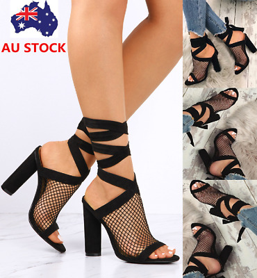 Women Block High Heel Ankle Strap Sandals Mesh Lace Up Peep Toe Slingback Shoes