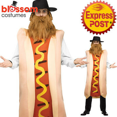 CA526 Mens Kosher Dog Costume Jewish Funny Food Hot Dog Rabbi Talis Hat Payis