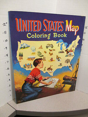 UNITED STATES MAP 1955 Whitman coloring book unused 60p Empire State Building #1