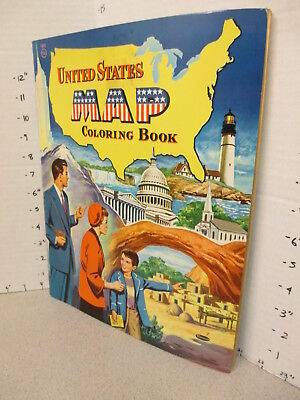 UNITED STATES MAP 1955 Whitman coloring book unused 60p Empire State Building #2