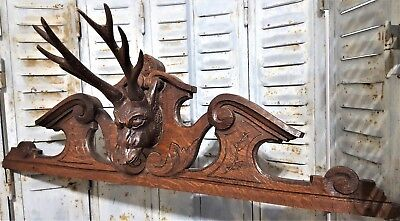 Hand Carved Wood Pediment Antique French Hunting Trophy Architectural Salvage