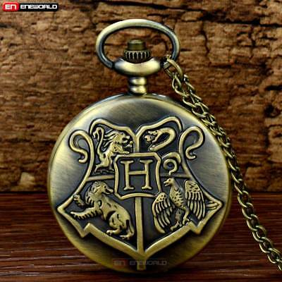 Vintage Harry Potter Hogwarts Bronze Pocket Watch Quartz Necklace Pendant Chain