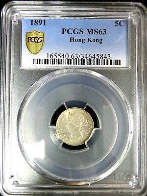 Hong Kong 1891 Victoria PCGS MS63 Secure Silver 5 Cents BU Scarce