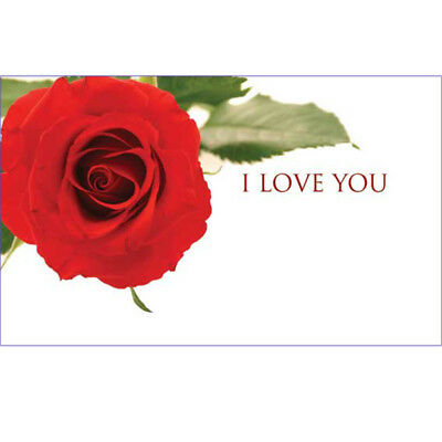 I Love You Florist Message Cards - Red Rose  x 50 Valentine Anniversary