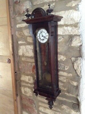 Old Rare & Elegant Miniature Single Weight Vienna Regulator Wall Clock No Reserv