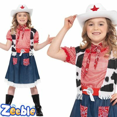 Girls Cowgirl Costume Kids Cowboy Fancy Dress Outfit Wild West Rodeo
