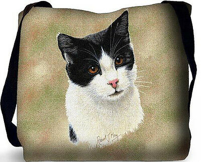 Woven Tote Bag - Black and White Cat 1958