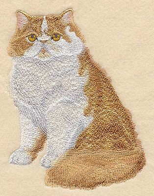 Large Embroidered Zippered Tote - Red & White Persian Cat C8881