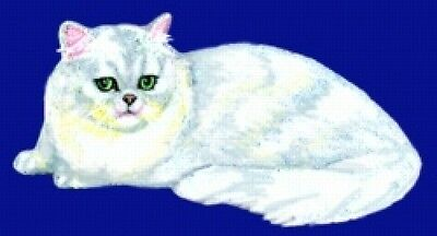 Large Embroidered Zippered Tote - Silver Persian Cat BT2517