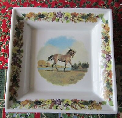 LIMOGES FRANCE DISH ; LE TROTTEUR ; Racehorse  ; Dish Measures 7  by 7 inches