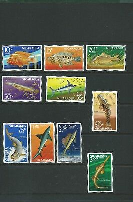 Nicaragua unmounted mint fish and sea Marine life MNH nice lot of 30 stamps