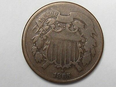 Civil War Era 1865 US 2 Cent Coin. 2¢.  #7