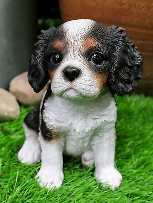 """Adorable Seated King Charles Spaniel Puppy Collectible Figurine Dog 6"""" Height"""