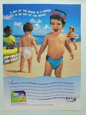 1999 Huggies Little Swimmers Baby Diapers - Vintage Ad Page - Toddlers Girl Boys
