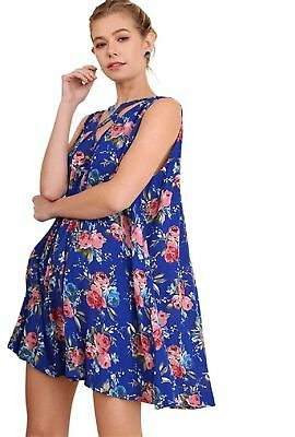 NEW WHOLESALE LOT Umgee Blue Floral Keyhole Swing Dresses, Lot of 7