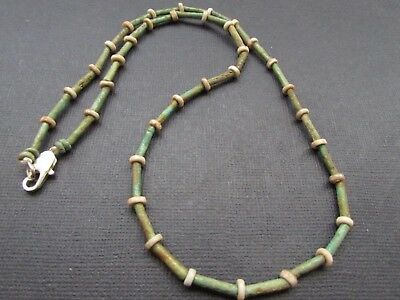 NILE  Ancient Egyptian Stone Bead Amulet Mummy Bead Necklace ca 600 BC