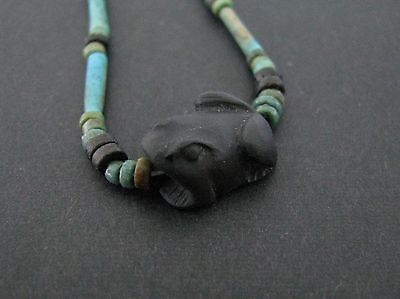 NILE  Ancient Egyptian Frog Amulet Mummy Bead Necklace ca 1200 BC