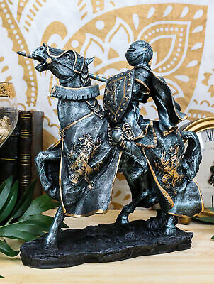 Medieval Tournament Jousting Suit Of Armor Knight On Heavy Cavalry Horse Statue
