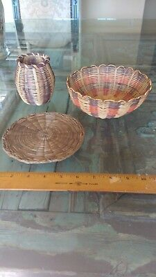 Collection Lot of 3 CHEROKEE Honeysuckle Baskets Native American Good Condition