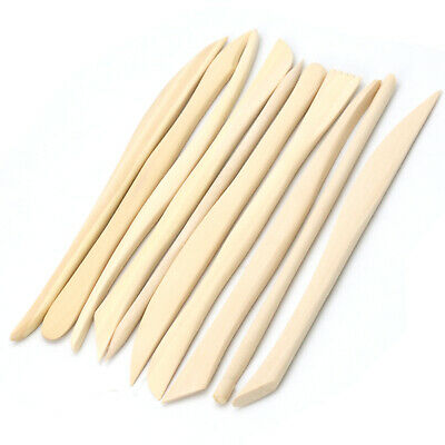 TRIXES Pack of 10 Wooden Clay Shaping Sculpting Tools