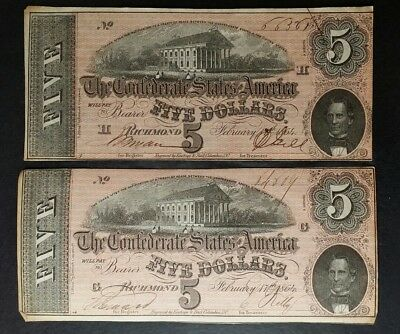 Two 1864 $5 Confederate Notes; C.S.A. Currency From Late Civil War Times
