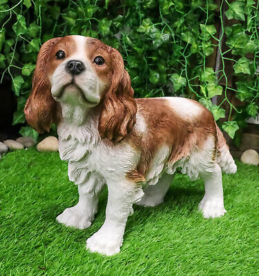 "Large Realistic Adorable Cavalier King Charles Spaniel Dog Statue 16""Long"